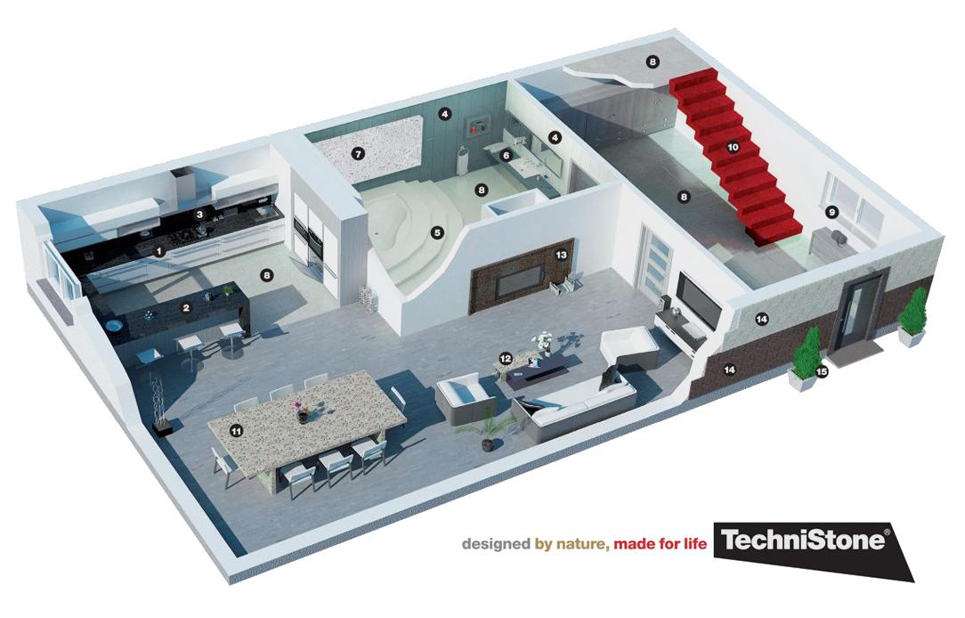 Die Verwendung von TECHNISTONE Quarzkonglomerat zu Hause